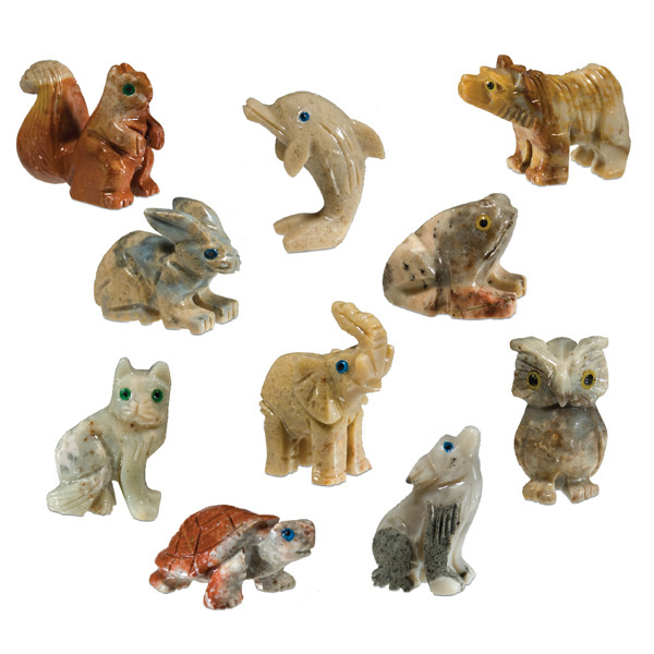 Mini carved stone animal refill assorted onyx