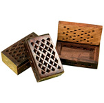 Wood Box with Fretwork Lid - Assorted (6)