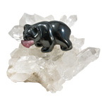 Hematite Bear on Quartz Cluster - Small