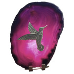 Pewter on Agate - Hummingbird