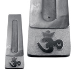 Black Soapstone Flat Incense Holders - Om (3)