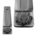Black Soapstone Flat Incense Holders - Sun (3)
