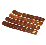 Wood Boat Incense Holders - Brass Inlay (10)