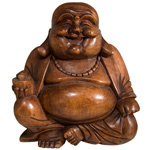 Happy Sitting Buddha (20 cm) - Suar Wood