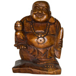 Traveling Happy Buddha - Suar Wood (Dark Stain)