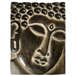 Plaque - Hand-carved Meditation Buddha Head (12 inch x 16 inch)