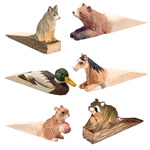 Hand Carved Wood Door Stop - Assorted (10)