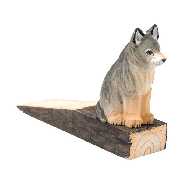 Hand Carved Wood Door Stop Wolf