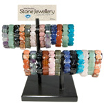 Gemstone Flat Oval Bracelet Display (25/display)