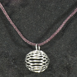 Jewellery Cage Pendant with Cord - Silver (12)