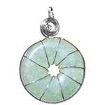 Infinity Disc Wire-wrapped Pendants - Green Aventurine