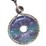 Infinity Disc Wire-wrapped Pendants - Fluorite