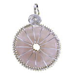 Infinity Disc Wire-wrapped Pendants - Rose Quartz