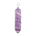 Silver Twist Point Pendant - Amethyst