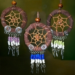 Dreamcatcher Pendants - Leather Wrapped w/ assorted beads (3)