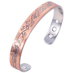 Magnetic Copper Bangle - Leaves
