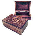 Carved Wood Box - Om