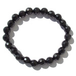 Gemstone Faceted Bead Bracelet - Black Obsidian