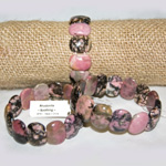 Gemstone Flat Oval Bracelets - Rhodonite