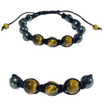 Gemstone Shamballa Bracelet - Gold Tiger Eye / Hematite