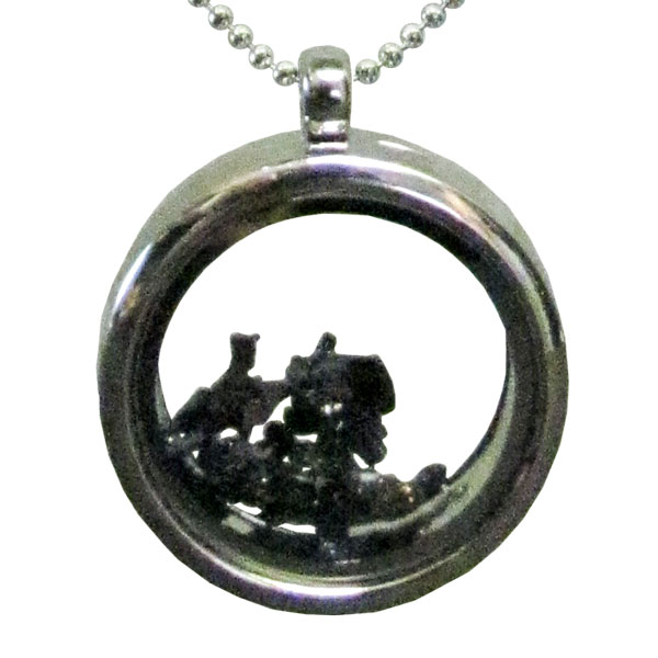 Glass Locket Necklace with Moissanite