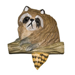 Hand Carved Wood Magnet - Raccoon