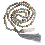 Japa Mala (Prayer Beads) - Matte Amazonite and Map Stone