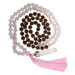 Japa Mala (Prayer Beads) - Matte Rose Quartz and Lava Stone