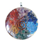 Orgone Chakra Pendant - Gemstone Chips with Copper Spiral
