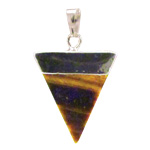 Gemstone Triangle Pendant - Gold Tigereye