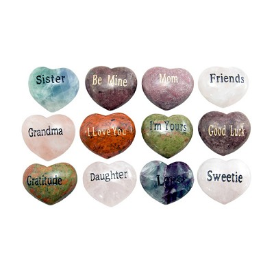 Puffy Heart Gems (Engraved) - Assorted (12)