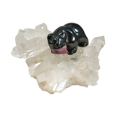 Hematite Bear on Quartz Cluster - Extra Small
