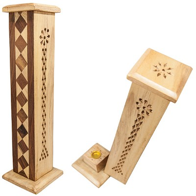 Wood Tower Incense Holders - Filigree Tower with Inlay