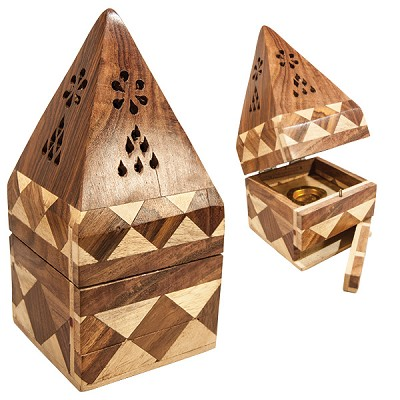 Wood Tower Incense Holders - Filigree Pyramid
