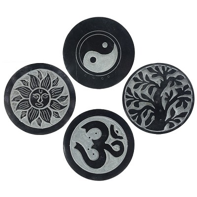 Black Soapstone Round Incense Holders - Assorted (4)