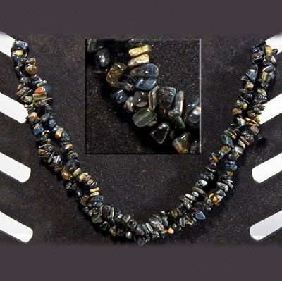 Gemstone Chip Necklace (36 inch) - Blue Tiger Eye