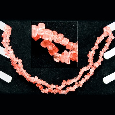 Gemstone Chip Necklace (36 inch) - Strawberry Quartz