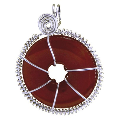 Infinity Disc Wire-wrapped Pendants - Carnelian