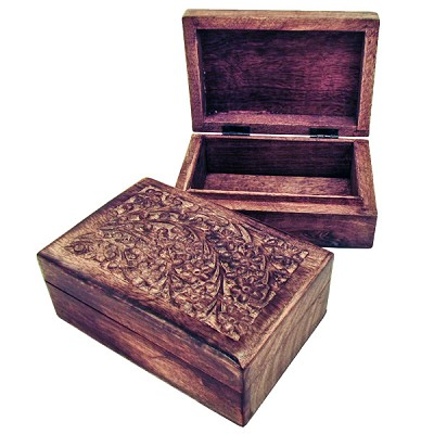 Carved Wood Box - Floral