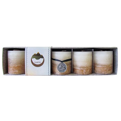 Zenature Elemental Mini Pillar Candles - Vanilla / Earth (5/box)
