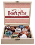 Puffy Heart Gem (Engraved) Display - Assorted (32/display)