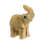 Mini Carved Stone Elephant - Assorted Onyx (3)