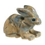 Carved Stone Rabbit - Assorted Onyx (3)