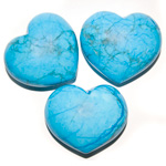 Puffy Heart Stones - Turquoise Howlite (6)