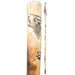 Hand Carved Wood Walking Stick - Wolf (1.3 m) (2)