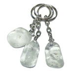 Tumbled Stone Keychains - Clear Quartz (12)