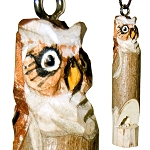 Hand Carved Wood Whistle Pendant - Owl (2)