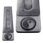 Black Soapstone Flat Incense Holders - Yin Yang (3)