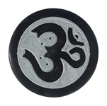 Black Soapstone Round Incense Holders - Om (3)