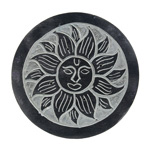 Black Soapstone Round Incense Holders - Sun (3)